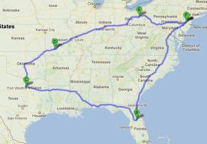 Trip Map for blog